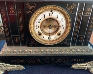 "66. Cast Iron Clock Black w/ Gold Detail and Dragon Handles (16"" x 7"" x 11"")"