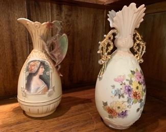 8. Porcelain Pitcher w/ Portrait of Girl (9'') 9. Rudelstadt Porcelain Vase w/ Gold Accent (10'')