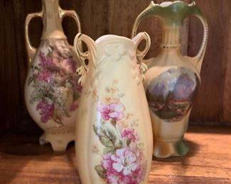 10. Porcelain Vase w/ Mountain Scene (9'') 11. Royal Wettina Footed Porcelain Vase (10'') 12. Rudolstadt Porcelain Bud Vase (7'')