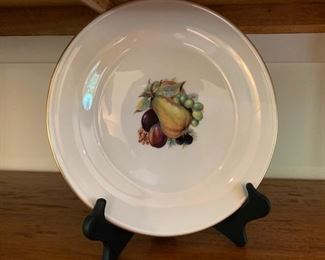 Porcelain Plate w/ Handpainted Fruit
