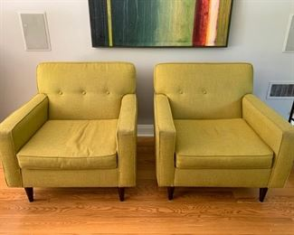 64. Pair of Better by Design Tufted Back Chartruese Contemporary Armchairs (35'' x 37'' x 33'')