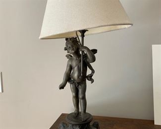 68. Metal Cherub Lamp