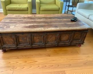66. Indonesian Plank Top Coffee Table w/ Storage & Metal Detail (34'' x 60'' x 17'')