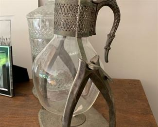 70. Metal & Glass Antique Coffee Warmer (13'')