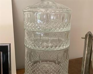 69. 3 Tier Crystal Lidded Container (14'')
