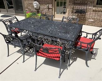 80. Wrought Iron Outdoor Dining Table w/ Fish Motif (70'' x 35'' x 29'') 81. 6 Wrought Iron Armchairs w/ Fish Motif (21'' x 22'' x 29'')