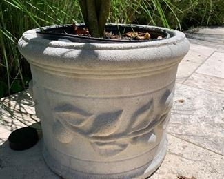 83. Cement Planter w/ Lemon Motif (15'' x 15'' x 12.5'')