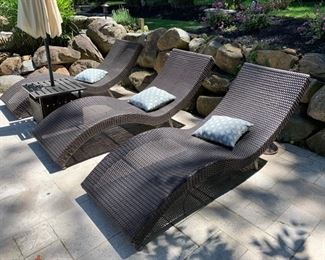 85. 6 All Weather Wicker Chaise Lounge Chairs (26'' x 78'' x 33'')