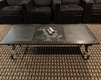 95. Stone Top Coffee Table w/ Etchings & Wrought Iron Base (54'' x 22'' x 16'')