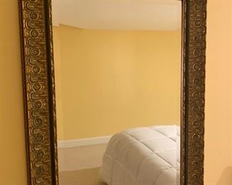 102. Wood Carved Silver Beveled Mirror (19'' x 23'')