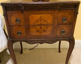 100. Pair of Antique 2 Drawer Carved & Inlayed Accent Table (23'' x 14'' x 27'')