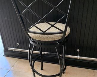 97. 3 Metal Upholstered Swivel Bar Stools (17'' x 43'' x 29'')