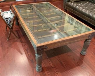 109. Custom Indonesian Window Frame Coffee Table w/ Glass Top (36'' x 62'' x 18'')