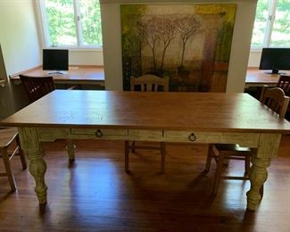 126. 2 Drawer Distressed Pine Top Painted Base Farm Table (40'' x 84'' x 32'')