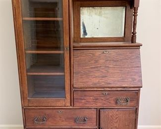 139. Oak Secretary Bookcase Cabinet (43'' x 15'' x 67'')