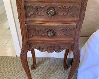 160 . Pair of Carved 2 Drawer Nightstands (14'' x 11'' x 30'')