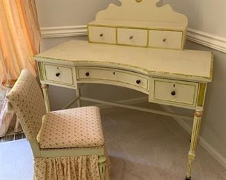 162. Handpainted 6 Drawer Victorian Desk on Casters (47'' x 25'' x 46'').                                                                                              163. Upholstered Desk Chair (18'' x 16'' x 30'')