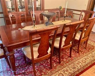 "22. Stanley Inlay Dining Table w/ 2-24"" Leaves (76"" x 46"" x 30"") 23. 8 Stanley Dining Chairs w/ Upholstered Seats, 2 Arm Chairs (24"" x 22"" x 41"") & 6 Side Chairs (22"" x 20"" x 41"")"