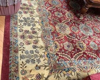 "49. Red & Cream Floral Wool Area Rug (9'6"" x 13'6"")"