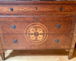 "59. Mahogany Inlay Chest w/ 3 Drawers (50"" x 17"" x 38"")"