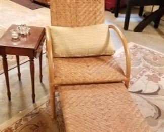 Rattan recliner with attached ottoman