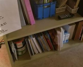 Bookcase and office supplies