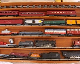 American Flyer Train Set in Wood Collector Box