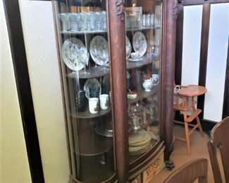 Heavily Carved Tiger Oak Curved Glass China Cabinet