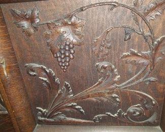 Carved Door on Oak Sideboard