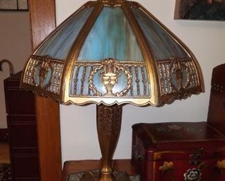"Vintage blue slag glass lamp; gorgeous!  About 23"" tall, 19"" wide."