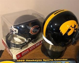 Chicago Bears Riddell mini helmet in box; Iowa Hawkeyes helmet
