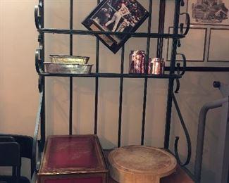 Metal and wood bakers' rack