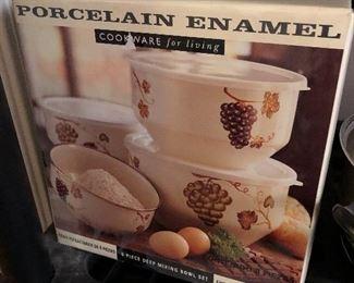Vintage Porcelain Enamel mixing bowls