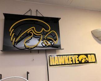 Neon Iowa Hawkeye sign