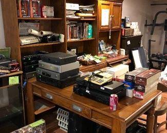Bookcases/attached corner desk