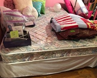 Queen size bed, mattress, box springs, and frame