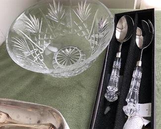 Waterford Crystal salad bowl, servers