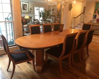 Neo-classical Birdseye Maple Pedestal Dining Table Set with 8 chairs & 2 table extensions plus matching sideboard.
