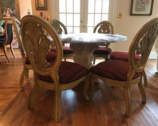 "Elegant 6 Chair Round Dining Set with Blonde Wood Chairs w/Carved Oval Backs.  This lovely, like new dining set has an elegant stone base, 6 beautiful classic wood chairs, and beveled 55"" D glass top. It is being sold together, but can also be purchased separately."