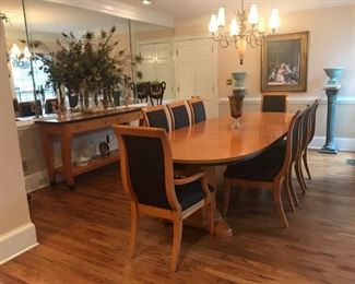 Excellent Condition! 12-piece Neo-classical Birdseye Maple Pedestal Dining Table Set: 8 chairs, pedestal table,  2 table extensions, plus matching sideboard.