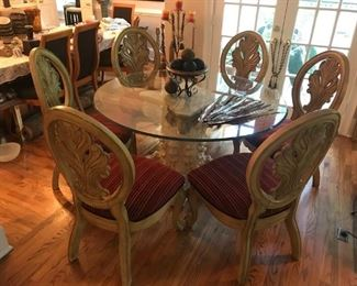 """Elegant 6 Chair Round Dining Set with Blonde Wood Chairs w/Carved Oval Backs.  This lovely, like new dining set has an elegant stone base, 6 beautiful classic wood chairs, and beveled 55"""" D glass top. It is being sold together for $575, but can also be purchased separately."""