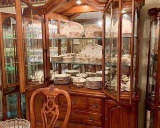 Wonderful China cabinet featuring Castleton Sunnyvale Chyna service of 12