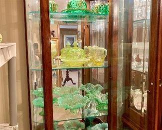 Mossed,Dolls Eye early American pattern glass emerald green, yellow opalescent Mosher Cherri Cambridge glass , Fostoria ,Fenton