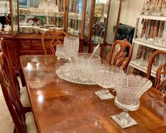 Large super nice dining table with six chairs ,  Hand cut crystal glassware