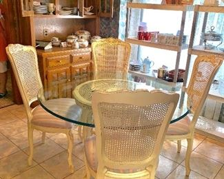 Glass top breakfast table and four chairs
