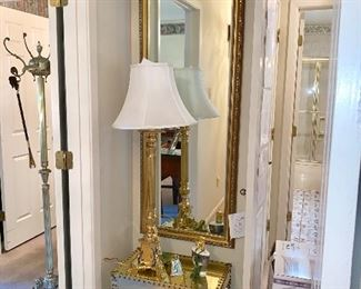 Brass box on stand, full length mirror, solid brass candlestick lamps,