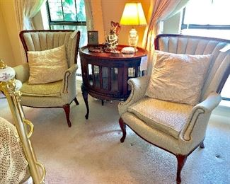Nice vintage chairs  Mahogany beveled curio with Tray  Mahogany beveled curio with tray  Crystal lamp
