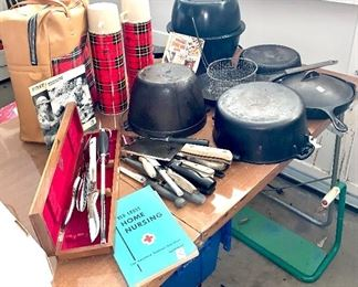 Antique and vintage cast-iron cookware ,vintage thermos set,Vintage and antique knives