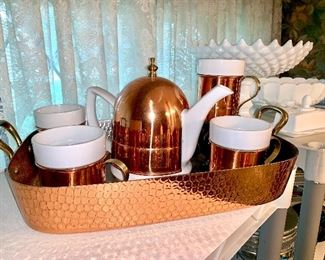 Copper coffee set with Tray baking dish
