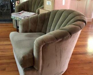 Lovely pair of velvet swivel club chairs